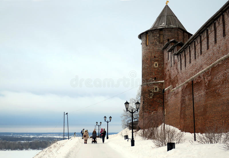 Vintersikt av Kreml Nizhny Novgorod Ryssland arkivfoton
