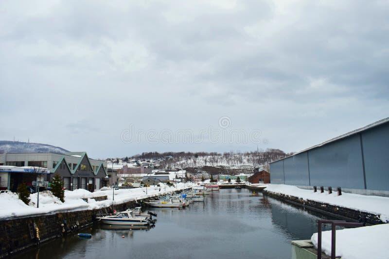 Vintersikten av den Otaru kanalen i Hokkaido Japan 2018 arkivbilder