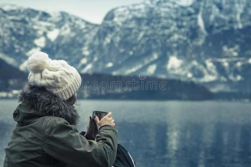 Vintersikten av Hallstatter ser royaltyfria foton