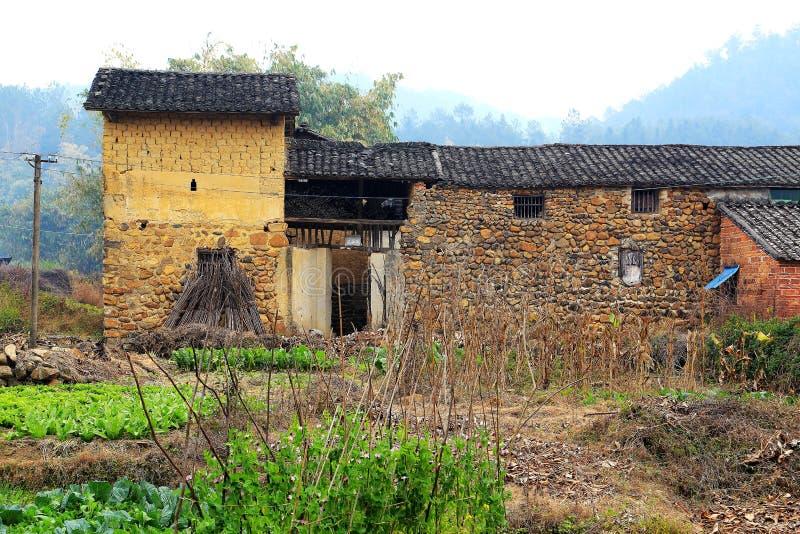 Vintersikterna av bygd i Kina royaltyfria bilder