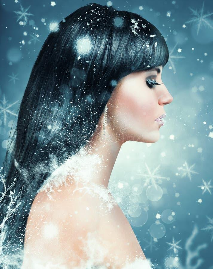 Vinterskönhetmakeup royaltyfri fotografi