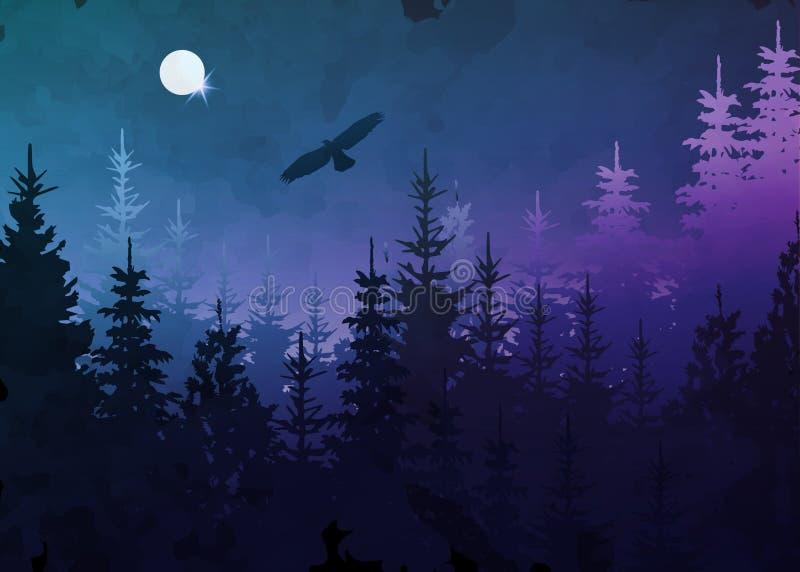Vinterskog med den skalliga örnen i flykten, blå bakgrund, vektorberglandskap Julgrangranar med fullmånen stock illustrationer