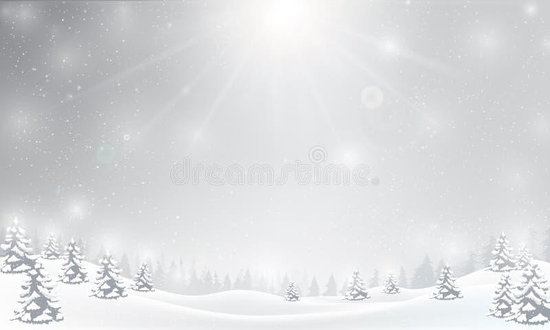Vintersnöflinga som faller in i snögolv och tänder över grå färger royaltyfri illustrationer