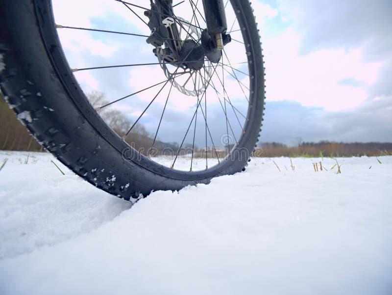 Vintersnöridning på mountinecykeln Extremt väder, hal väg i fältet, slutsikt arkivbilder