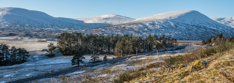 Vintersol och insnöade Skottland royaltyfria foton
