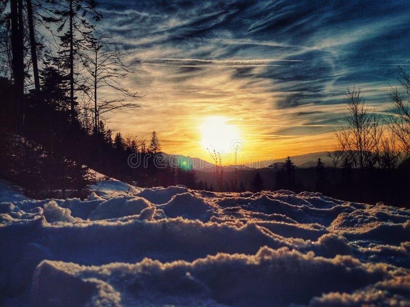 Vintersolnedgång, royaltyfri foto