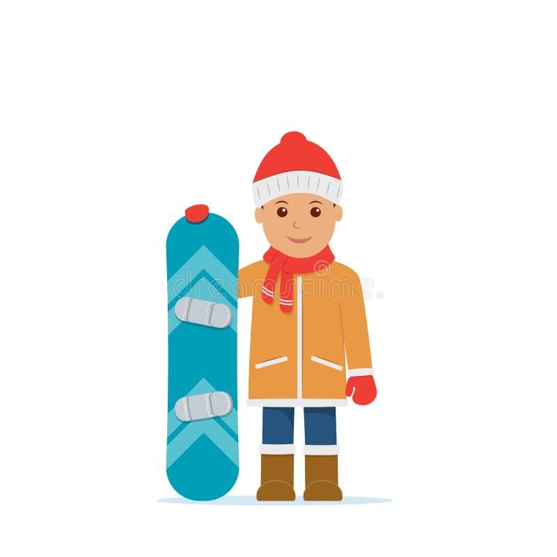 Vintersport, snowboarding Vektorillustration i plan stil stock illustrationer