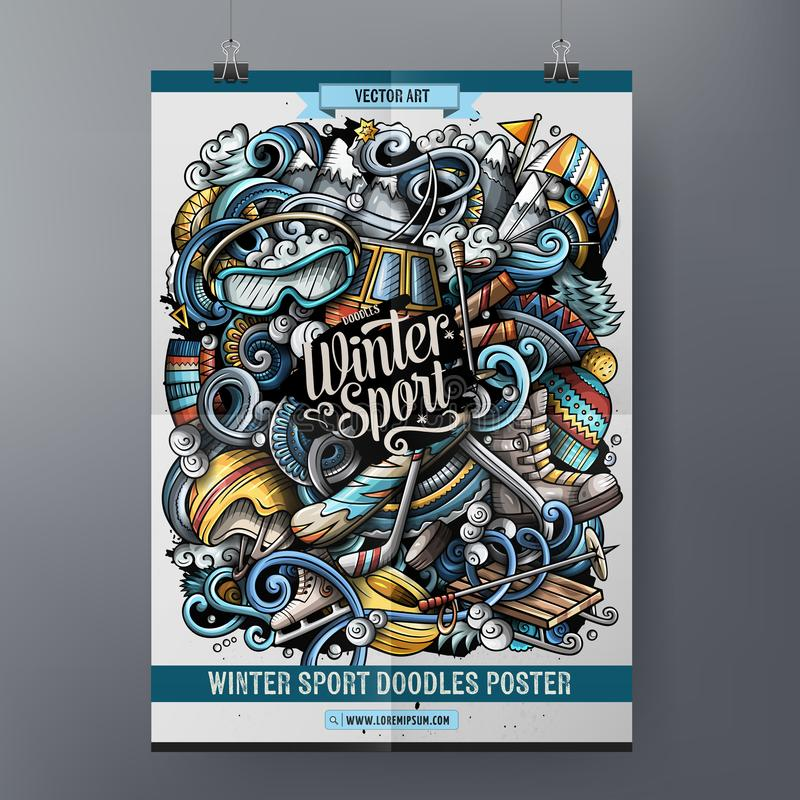 Vintersporten klottrar affischdesign Skidar mallen för semesterortteckenbrädet royaltyfri illustrationer
