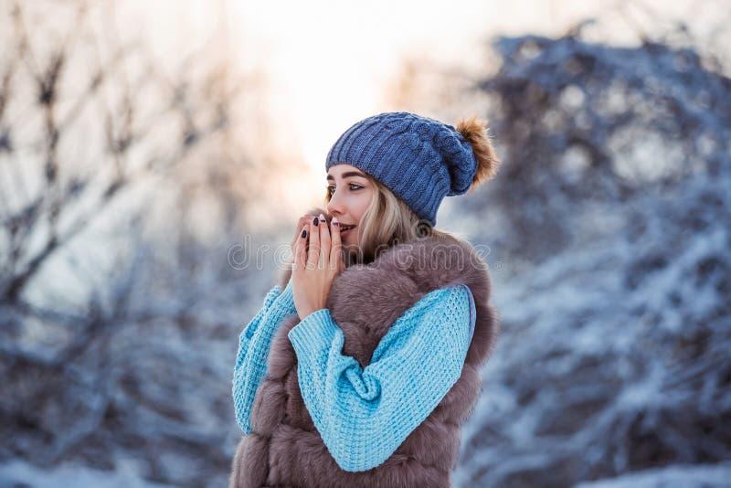 Vinterstående av den unga härliga kvinnan som bär varm kläder Snöa begrepp för vinterskönhetmode royaltyfria foton