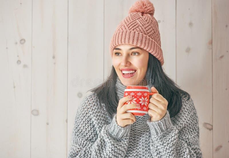 Vinterstående av den unga kvinnan arkivfoto