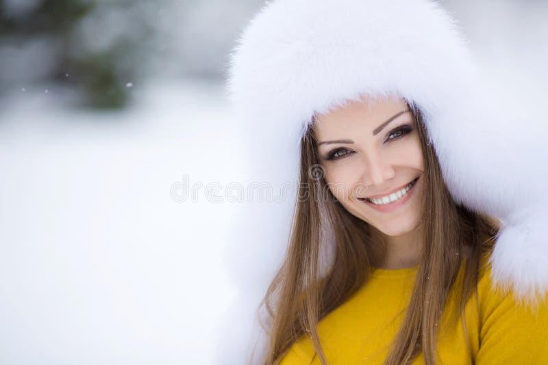 Vinterstående av en mycket härlig kvinna arkivbild