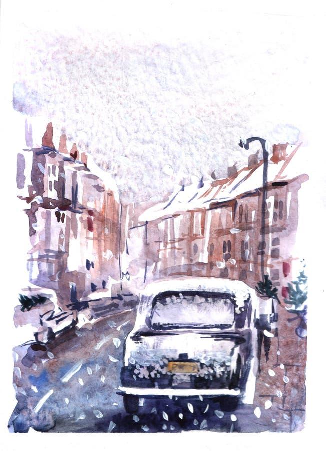 Vinterstad på julafton royaltyfri illustrationer