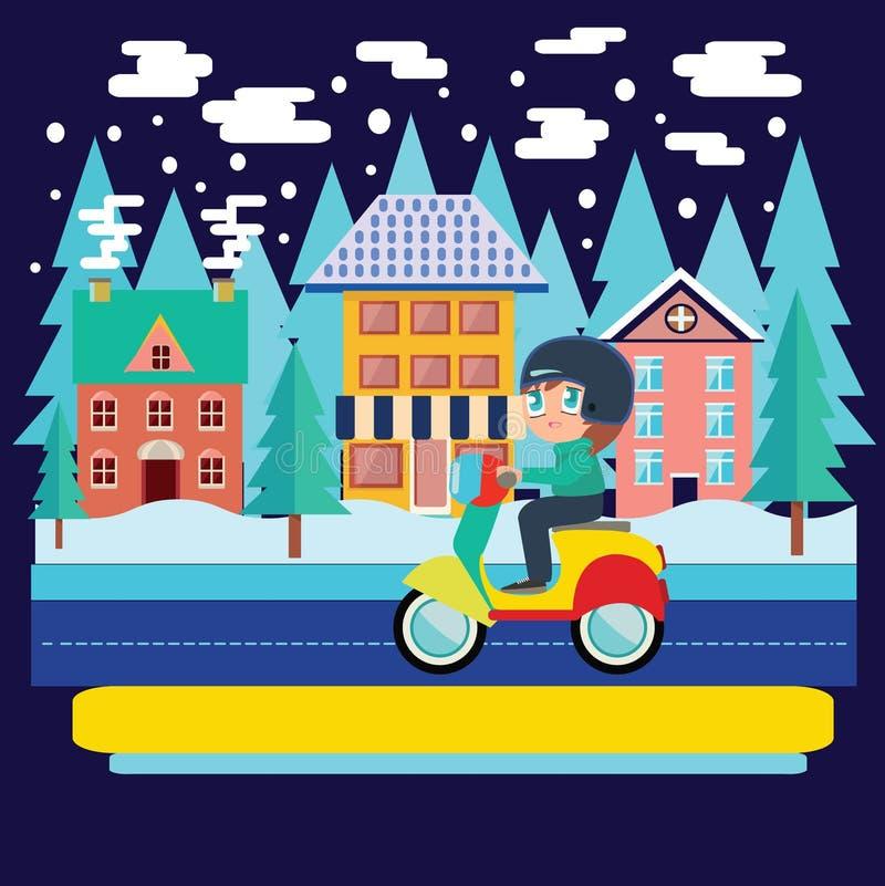 Vinterstadslandskap och pojkeridningsparkcykel, motorcykel i fla royaltyfri illustrationer