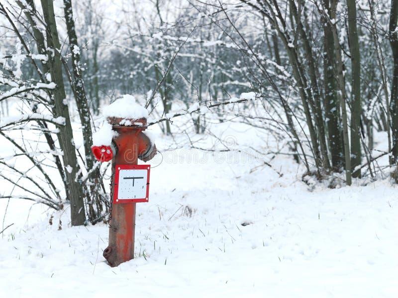 Vinterstilleben med den gamla rostiga vattenposten royaltyfri fotografi