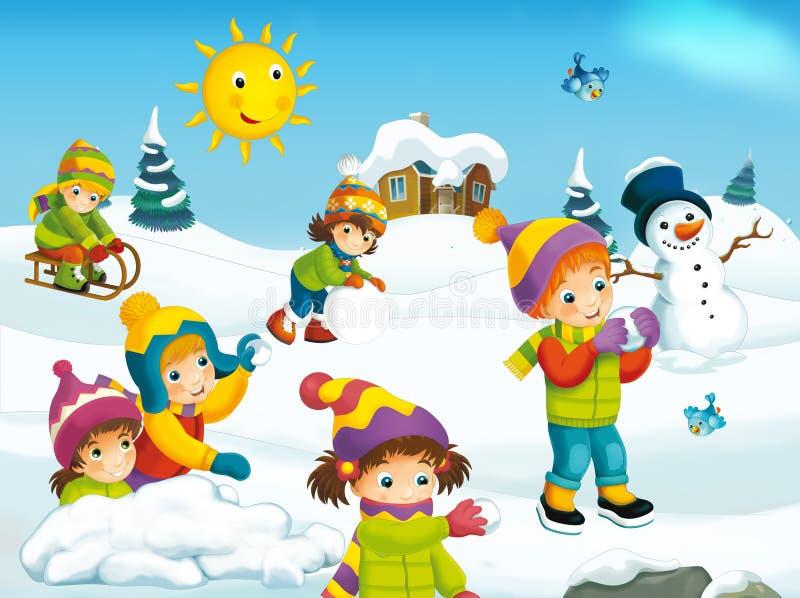 Vintertecknad filmplats stock illustrationer
