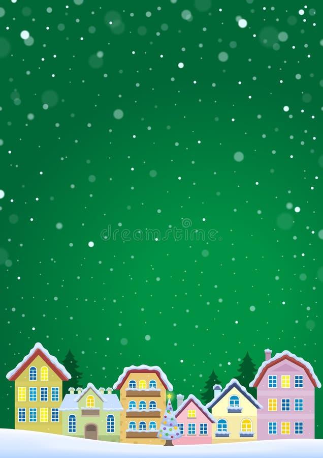 Vintertema med julstadbild 5 royaltyfri illustrationer