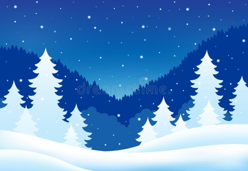 Vintertemalandskap 5 royaltyfri illustrationer