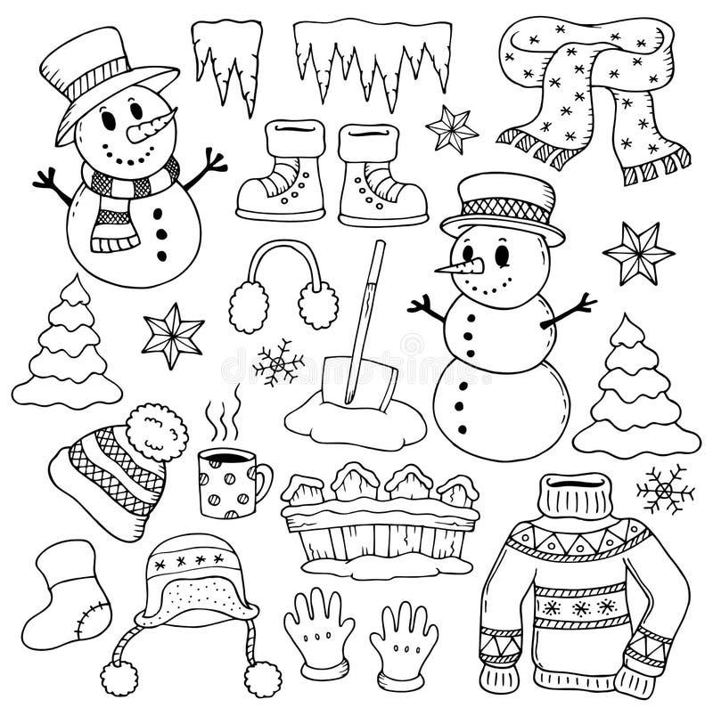 Vintertemateckningar 1 vektor illustrationer