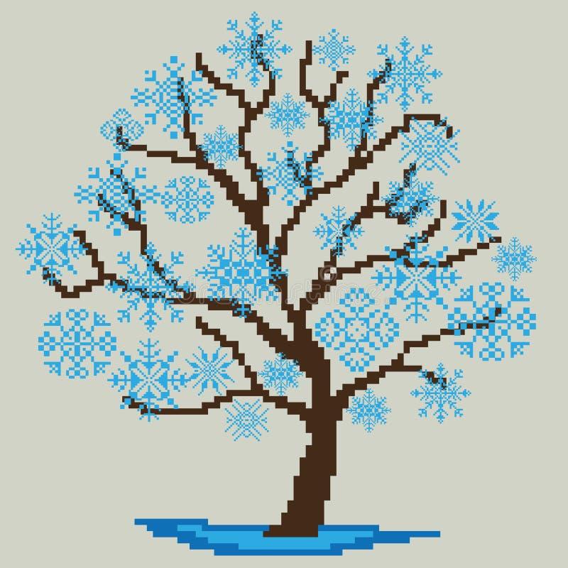 Vinterträdkontur med blåa snöflingor som dras av fyrkanter, PIXEL greeting lyckligt nytt år för 2007 kort också vektor för coreld stock illustrationer