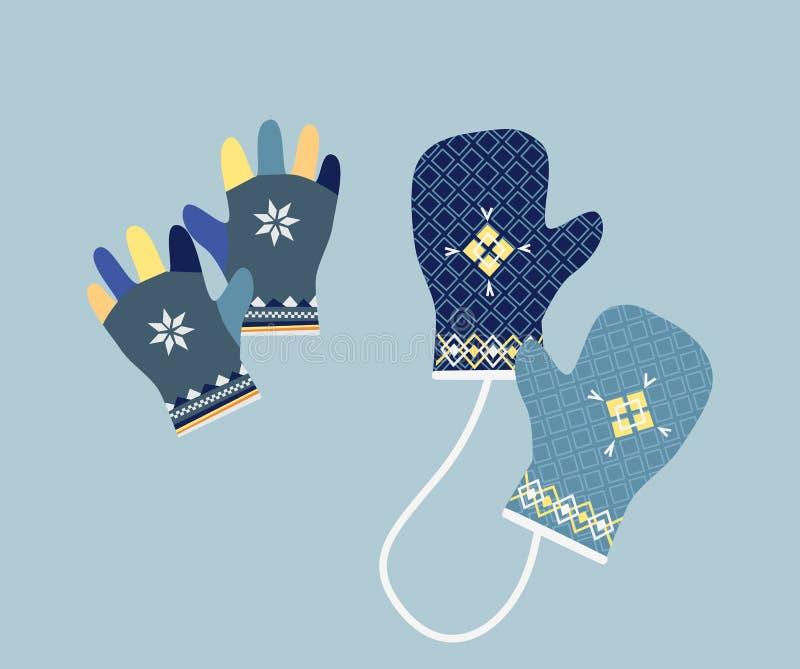 Vintertumvanten i mjuka tappningfärger handskar vektor illustrationer