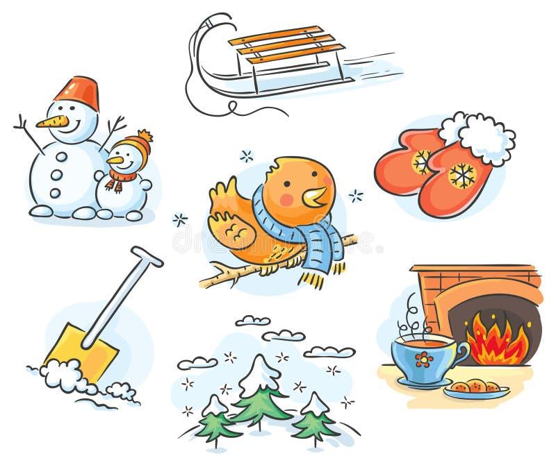 Vinteruppsättning vektor illustrationer