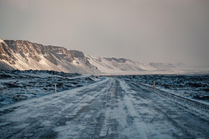 Vinterväg i snöhäftig snöstorm royaltyfri bild