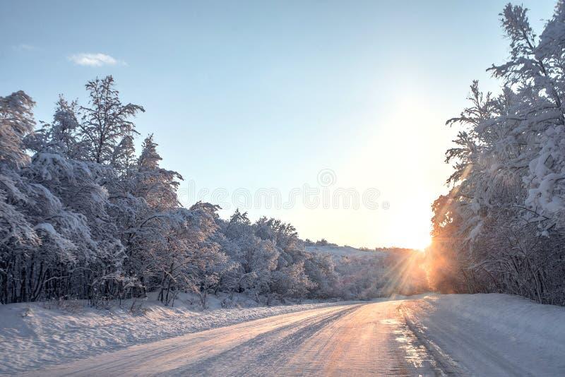 Vinterväg i snow arkivfoton