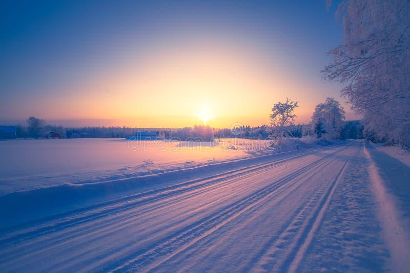 Vintervägsikt från Sotkamo, Finland royaltyfria foton