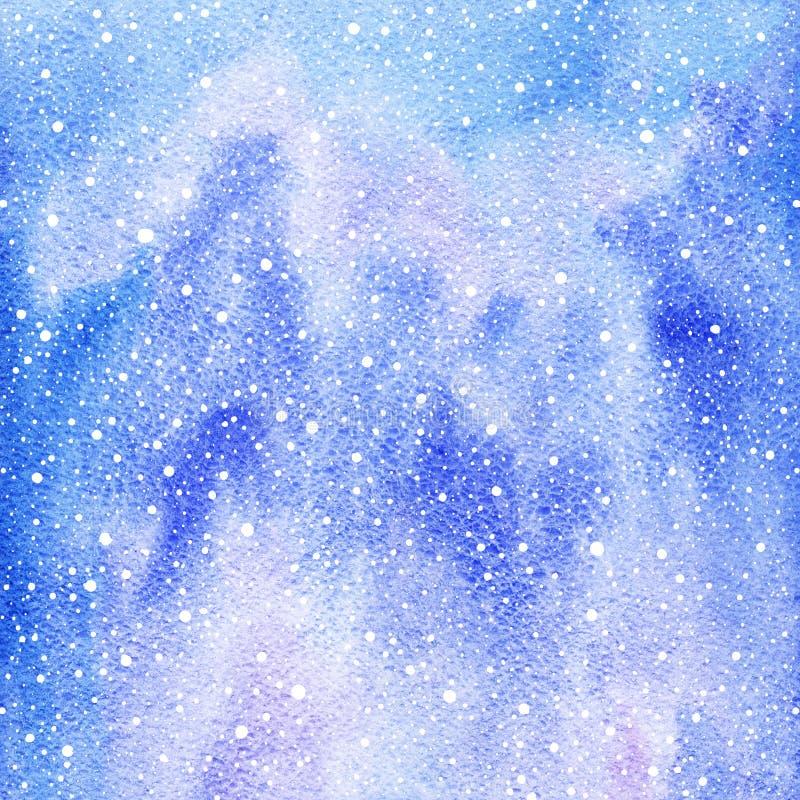 Vintervattenfärgbakgrund med snöfärgstänktextur stock illustrationer