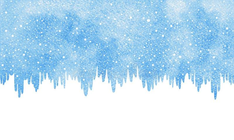 Vintervattenfärggränsen med snö och istappar kantar royaltyfri illustrationer