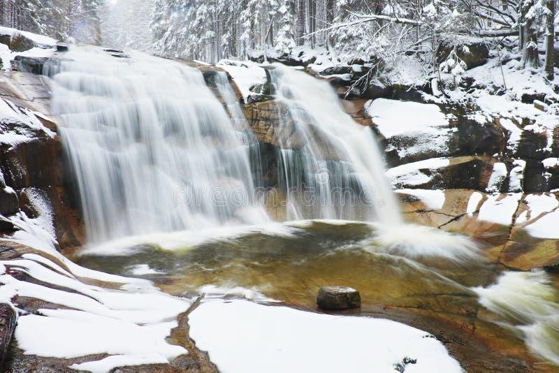 Vintervattenfall Det lilla dammet och snöig stenblock bölar kaskaden av vattenfallet Crystal frysningvatten av bergfloden och lju royaltyfria foton