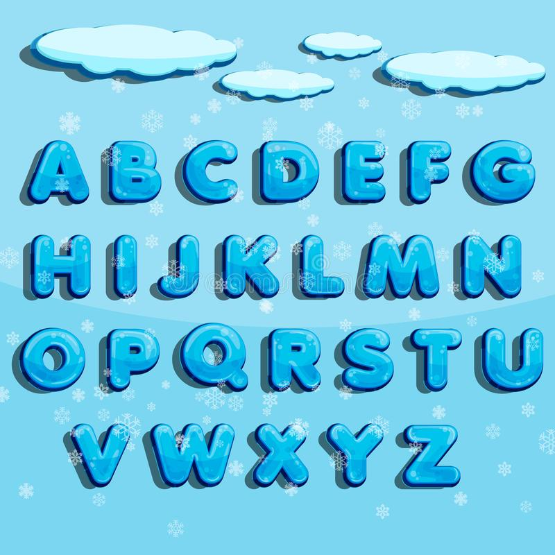 Vintervektoralfabet med snö Märka abc, den iskalla stilsorten, säsongfroststilsorten, typografi eller sätt Illu för vinteralfabet stock illustrationer