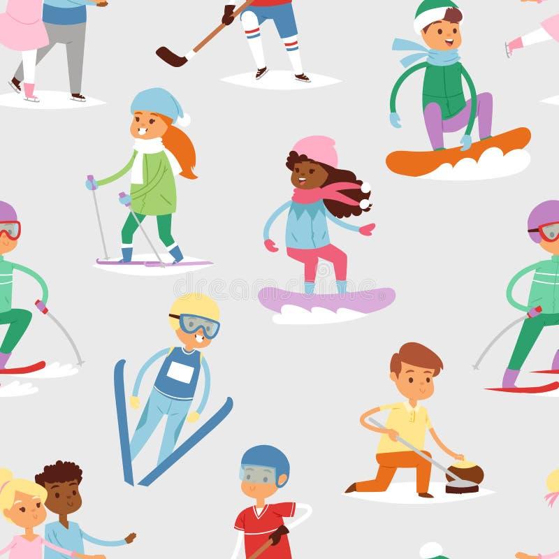 Vintervektorsporten lurar för gulliga flicka s för barnet tecknad filmbarn för lekar rolig kall och barndom för unge för pojkeidr royaltyfri illustrationer