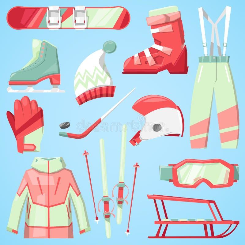 Vintervektorsporten och klädersymbolssnö skidar, snowboardhjälmen och brädet, kalla extrema idrottsmän för pulkaberg vektor illustrationer