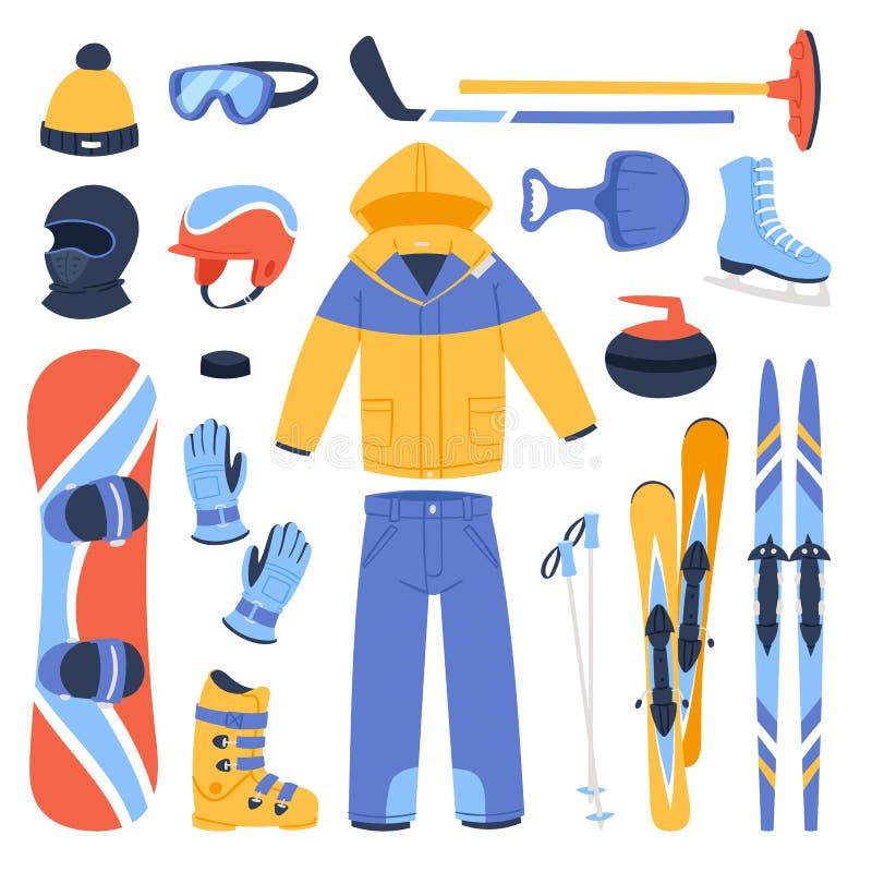 Vintervektorsporten och klädersymbolssnö skidar, snowboardhjälmen och brädet, kalla extrema idrottsmän för pulkaberg stock illustrationer