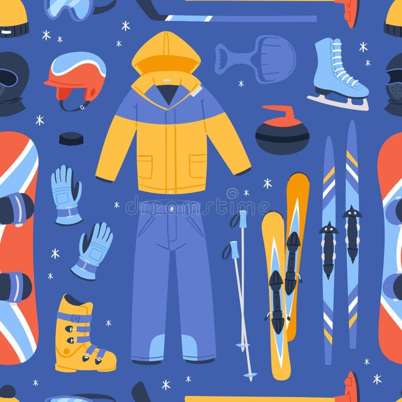 Vintervektorsporten och klädersymbolssnö skidar, snowboardhjälmen och brädet, kalla extrema idrottsmän för pulkaberg royaltyfri illustrationer