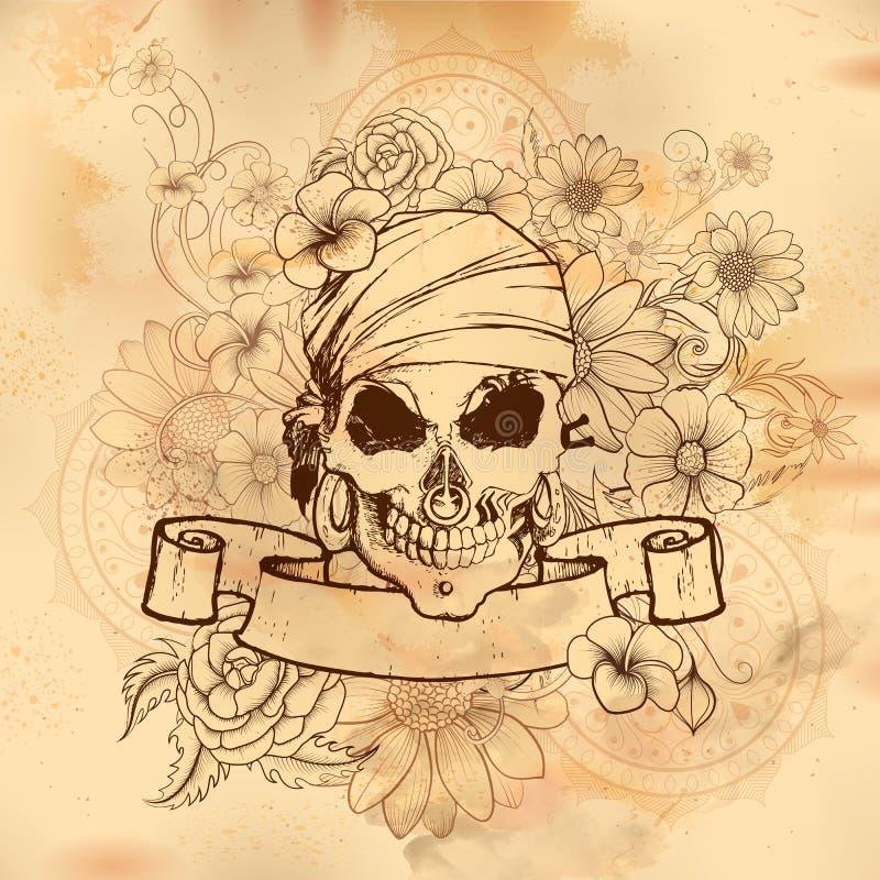 Vintge czaszki stylowego grungy druku retro tło ilustracja wektor