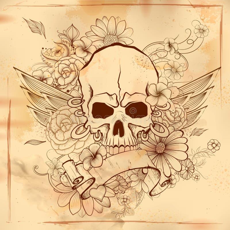 Vintge czaszki stylowego grungy druku retro tło ilustracji
