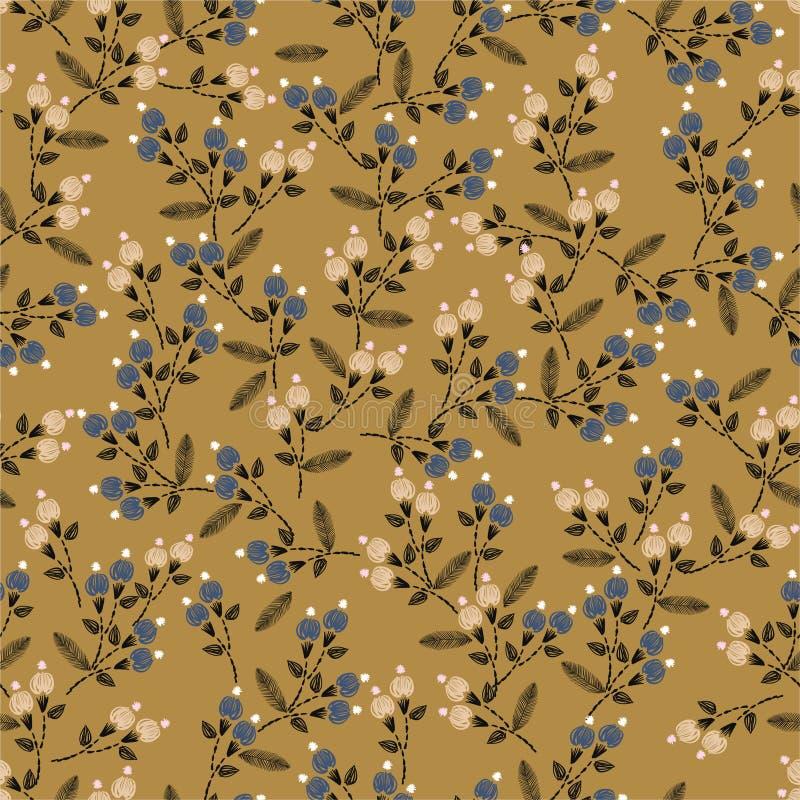 Vintge ręki ściegu Hafciarski Bezszwowy wzór z swoboda kwiatów dekoracji wektoru małą ilustracją Projekt dla Domowego wystroju, ilustracji