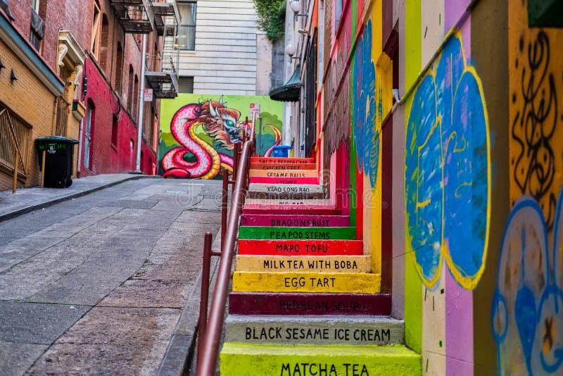 Vinton Court Steps Chinatown arkivbilder