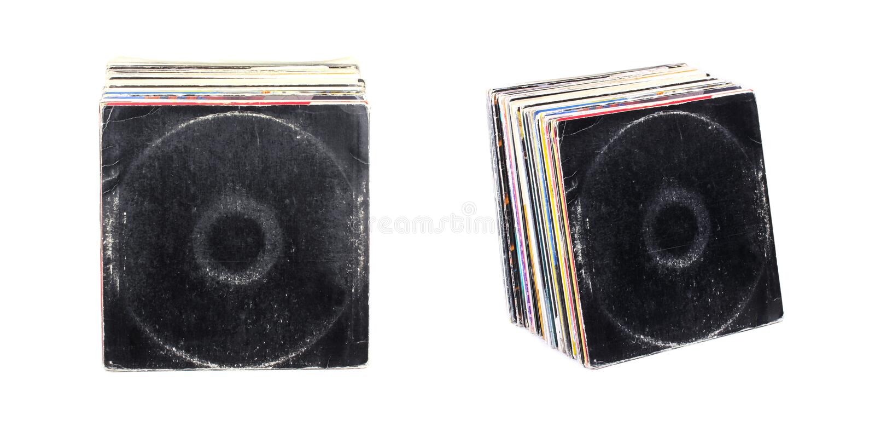 Vinyl. Stack of Vinyl records, close up stock photo