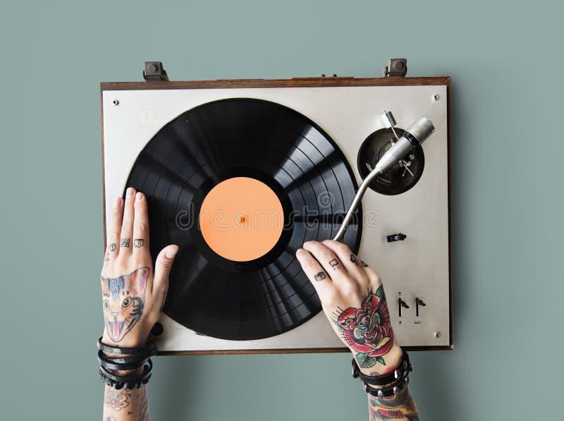 Vinyl Audiomuziekritme het Spelen Tatoegering Art Concept royalty-vrije stock foto