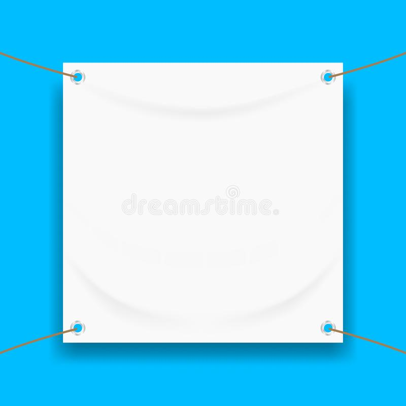Vinyl banner blank white isolated on square blue frame, white mock up textile fabric empty for banner advertising stand hanging royalty free illustration