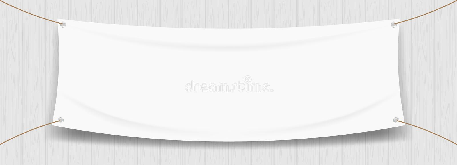 Vinyl banner blank white isolated on wood frame background, white mock up textile fabric empty for banner advertising stand stock illustration