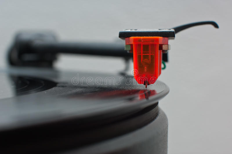 Vinyl cartridge front view. Orange vinyl cartridge front view royalty free stock photo