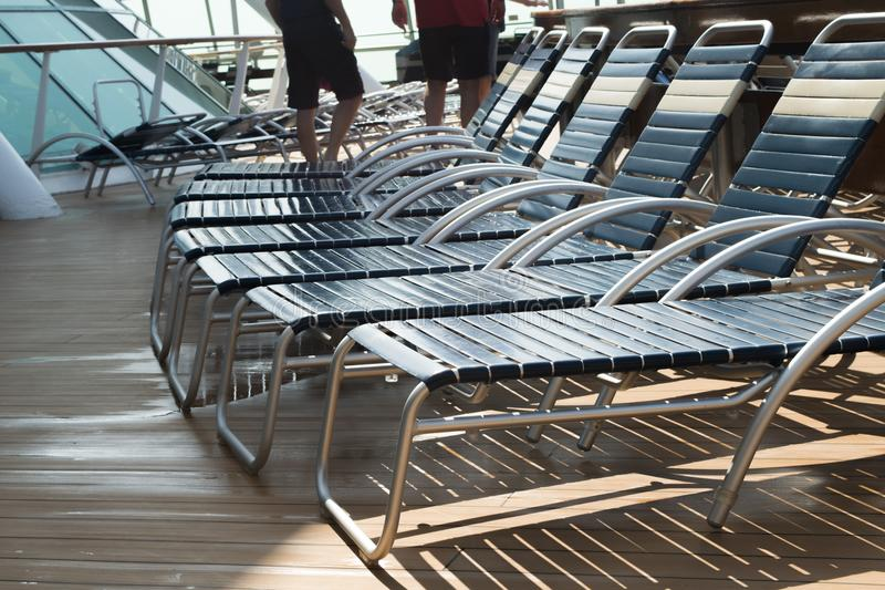 Cruise ship deck chairs sunning and relaxing stock photo