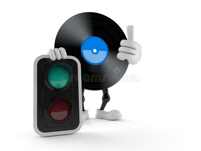 Vinyl character with green light stock illustration
