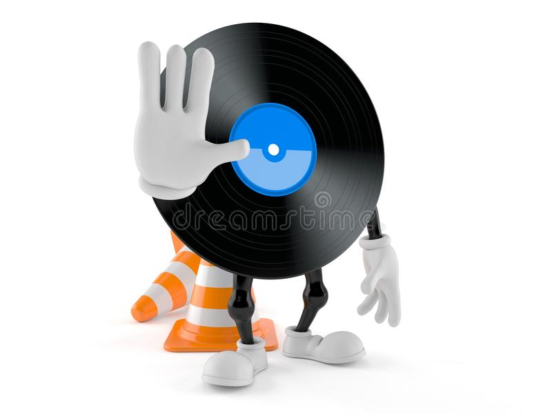 Vinyl character with stop gesture stock illustration