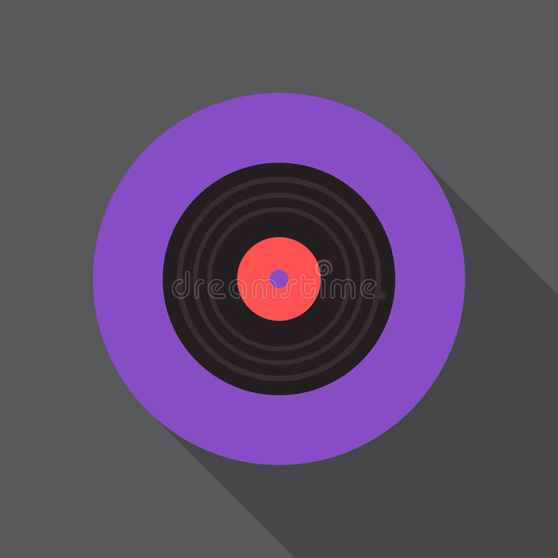 Vinyl disc flat icon. Round colorful button, gramophone record circular vector sign, logo illustration. stock illustration