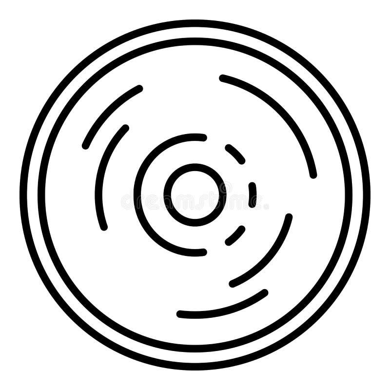 Vinyl disc icon, outline style vector illustration